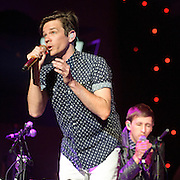 """WASHINGTON, DC - January 31st,  2013 - Nate Ruess and Andrew Dost of fun. perform at DAR Constitution Hall in Washington, D.C. The band is still riding high off of the success of their sophomore album """"Some Nights"""" which featured with hits """"We Are Young"""" and the title track. (Photo by Kyle Gustafson/For The Washington Post)"""