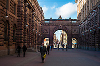 Swedish Parliament courtyard - Street scenes from Stockholm