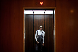 Tatiana Bilbao in the elevator that leads to her office in Mexico City.