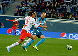 November 5, 2019, St. Petersburg, Russia: Russia. St. Petersburg. November 5, 2019. Players of FC RB Leipzig Yussuf Poulsen and FC Zenit Artyom Dziuba (from left to right) in the UEFA Champions League group stage match between the teams Zenit (St. Petersburg, Russia) and RB Leipzig  (Credit Image: © Andrey Pronin/ZUMA Wire)