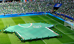 Republic of Ireland fans observe the opening ceremony  - Mandatory by-line: Joe Meredith/JMP - 26/06/2016 - FOOTBALL - Stade de Lyon - Lyon, France - France v Republic of Ireland - UEFA European Championship Round of 16