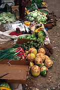 Tropical food products at a rural market in Jamaica