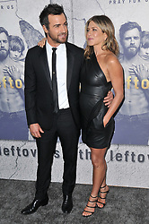 """(L-R) Justin Theroux and Jennifer Aniston arrives at """"The Leftovers"""" Season 3 Los Angeles Premiere held at the Avalon Hollywood in Hollywood, CA on Tuesday, April 4, 2017. (Photo By Sthanlee B. Mirador) *** Please Use Credit from Credit Field ***"""