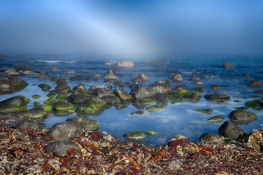 Rocky coastline at Revtangen (Rogaland, western Norway) in September.