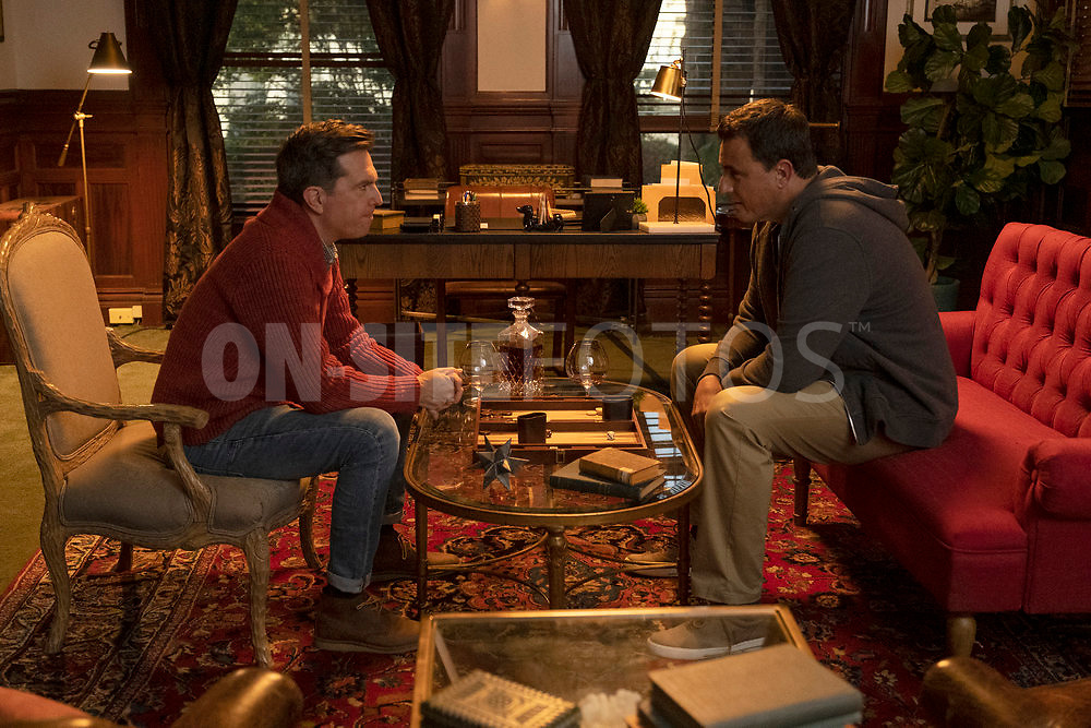 """RUTHERFORD FALLS -- """"Aunt Ida's 90th Birthday"""" Episode 103 -- Pictured: (l-r) Ed Helms as Nathan Rutherford, Ben Koldyke as Duz -- (Photo by: Colleen Hayes/Peacock)"""