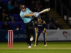 Surrey's Aaron Finch hits a boundary<br /> <br /> Photographer Simon King/Replay Images<br /> <br /> Vitality Blast T20 - Round 14 - Glamorgan v Surrey - Friday 17th August 2018 - Sophia Gardens - Cardiff<br /> <br /> World Copyright © Replay Images . All rights reserved. info@replayimages.co.uk - http://replayimages.co.uk