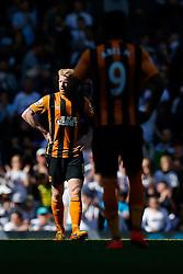 Paul McShane looks dejected after Hull City lose 2-0 to Tottenham Hotspur - Photo mandatory by-line: Rogan Thomson/JMP - 07966 386802 - 16/05/2015 - SPORT - FOOTBALL - London, England - White Hart Lane - Tottenham Hotspur v Hull City - Barclays Premier League.