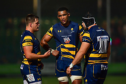 Nick Schonert Gareth Milasinovich and Christian Scotland-Williamson of Worcester Warriors chat during the game - Mandatory by-line: Craig Thomas/JMP - 03/11/2017 - RUGBY - Sixways Stadium - Worcester, England - Worcester Warriors v Sale Sharks - Anglo Welsh Cup