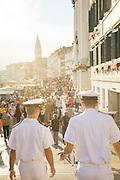 Sailors on Riva degli Schiavoni, Castello district, Venice. Italy, Europe