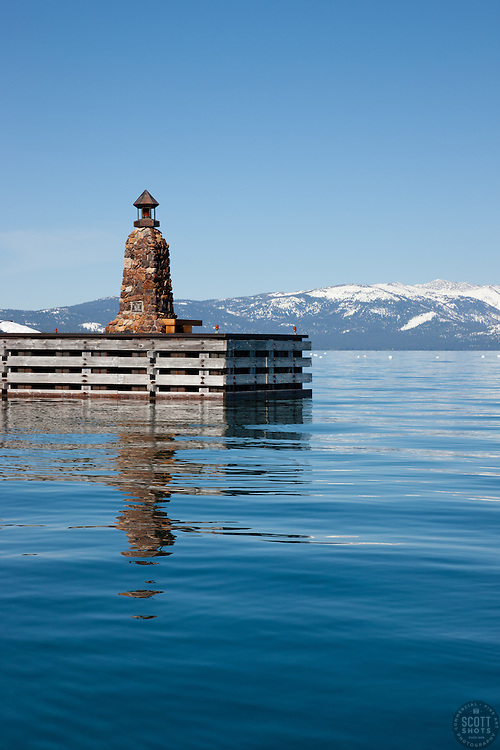 """""""Light Post on Lake Tahoe"""" - This light post on a dock was photographed on the East Shore of Lake Tahoe, CA."""