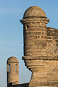 Walls and garrita at Castillo de San Marcos in St. Augustine, Florida. St Augustine is the oldest city in America.