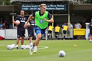 AFC Wimbledon striker Joe Pigott (39) warming up during the EFL Sky Bet League 1 match between AFC Wimbledon and Coventry City at the Cherry Red Records Stadium, Kingston, England on 11 August 2018.