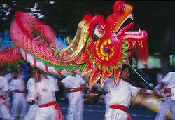 North America, United States, Washington, Seattle, Lion Dance procession during Chinese New Year celebration