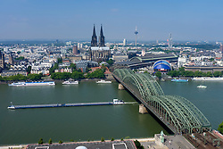 Skyline of city of Cologne with River Rhine and cathedral or Dom to rear Germany
