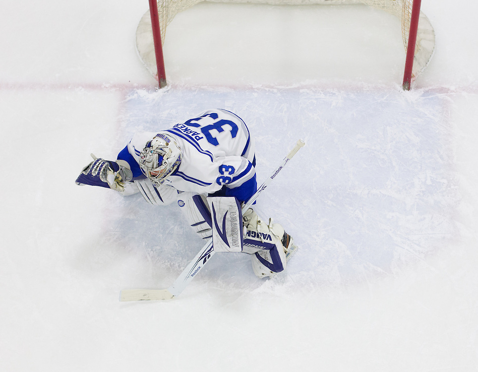 Sam Parker, of Colby College, in a NCAA Division III hockey game against Connecticut College on February 20, 2015 in Waterville, ME. (Dustin Satloff/Colby College Athletics)