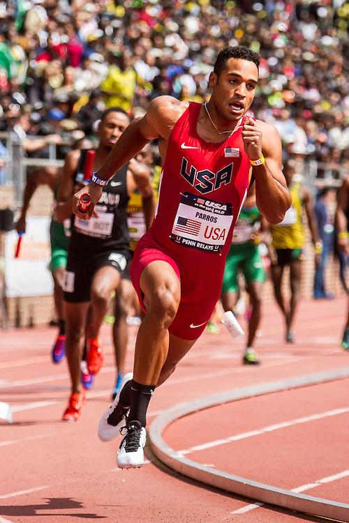 Penn Relays, USA vs the World, mens 4x400 relay, Clayton Parros, USA