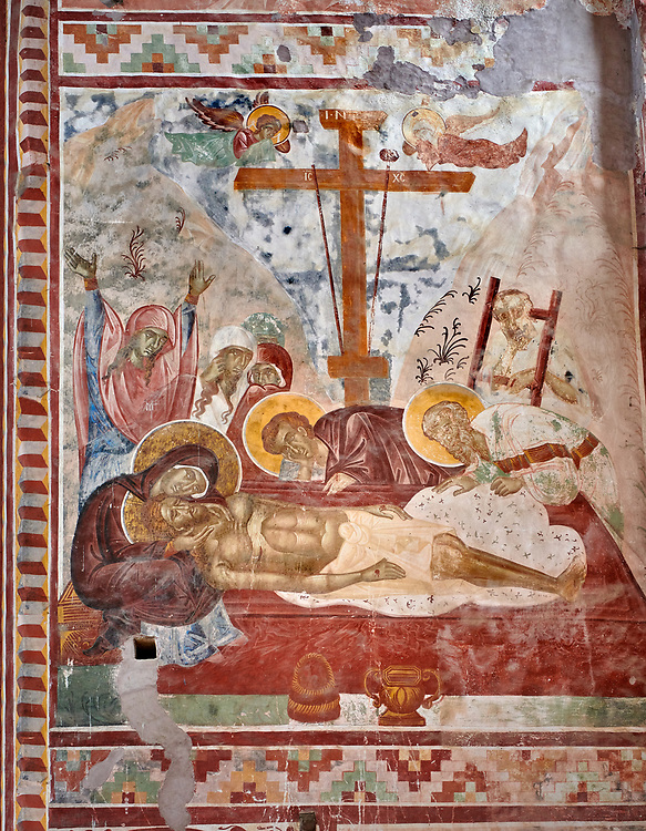 Pictures & images of the Byzantine cupola fresco  in the Gelati Georgian Orthodox Church of the Virgin, 1106, depicting a Calvary scene as Christ is taken down from the cross.  The medieval Gelati monastic complex near Kutaisi in the Imereti region of western Georgia (country). A UNESCO World Heritage Site. .<br /> <br /> Visit our MEDIEVAL PHOTO COLLECTIONS for more   photos  to download or buy as prints https://funkystock.photoshelter.com/gallery-collection/Medieval-Middle-Ages-Historic-Places-Arcaeological-Sites-Pictures-Images-of/C0000B5ZA54_WD0s<br /> <br /> Visit our REPUBLIC of GEORGIA HISTORIC PLACES PHOTO COLLECTIONS for more photos to browse, download or buy as wall art prints https://funkystock.photoshelter.com/gallery-collection/Pictures-Images-of-Georgia-Country-Historic-Landmark-Places-Museum-Antiquities/C0000c1oD9eVkh9c
