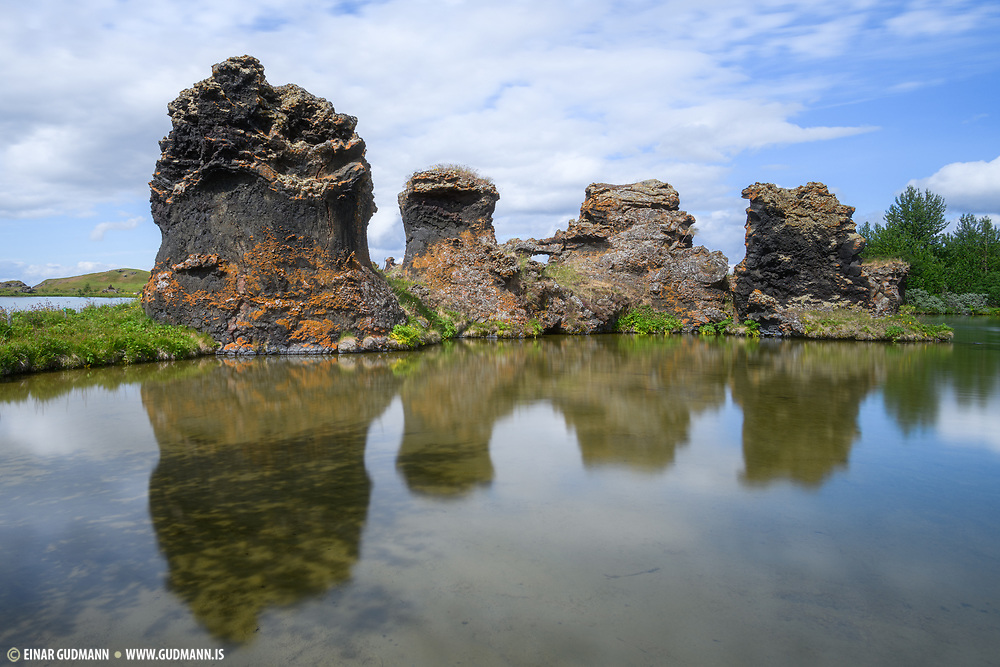 Kalfastrond is spectacular for the lava formations of the rocks. Kalfastrond is a bay in the Myvatn area.