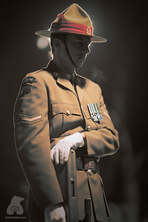 April 25, 2008. A soldier stands outside the cenotaph during the ANZAC Day commemorations, at dawn, in Wellington, New Zealand. ANZAC day marks the day soldiers of the Australian and New Zealand Army Corps (ANZAC) fell during the WWI battle of Gallipoli (Turkey).