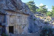 Rock tombs, Lycian city of Pinara, Turkey