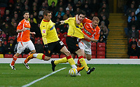 Photo: Richard Lane/Richard Lane Photography. Watford v Blackpool. Coca Cola Championship. 01/11/2008. Will Hoskins (2nd L) draws back to shoot Watford into a 1-0 lead