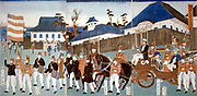 Triptych showing a parde of foreigners, Yokohama,  in a horse-drawn open carriage and led by man carrying the stars-and-stripes, and a military band,1861. Utagawa Yoshigawa (actives 1850-1870) Japanese ukiyo-e artist.
