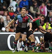 Twickenham, GREAT BRITAIN, Andy GOMARSAL, passes the ball out ,fromt he back of the scrum, during the Guinness Premieship match, NEC Harlequins vs Bristol Rugby, at the Twickenham Stoop Stadium, England, on Sat 24.02.2007  [Photo, Peter Spurrier/Intersport-images].....