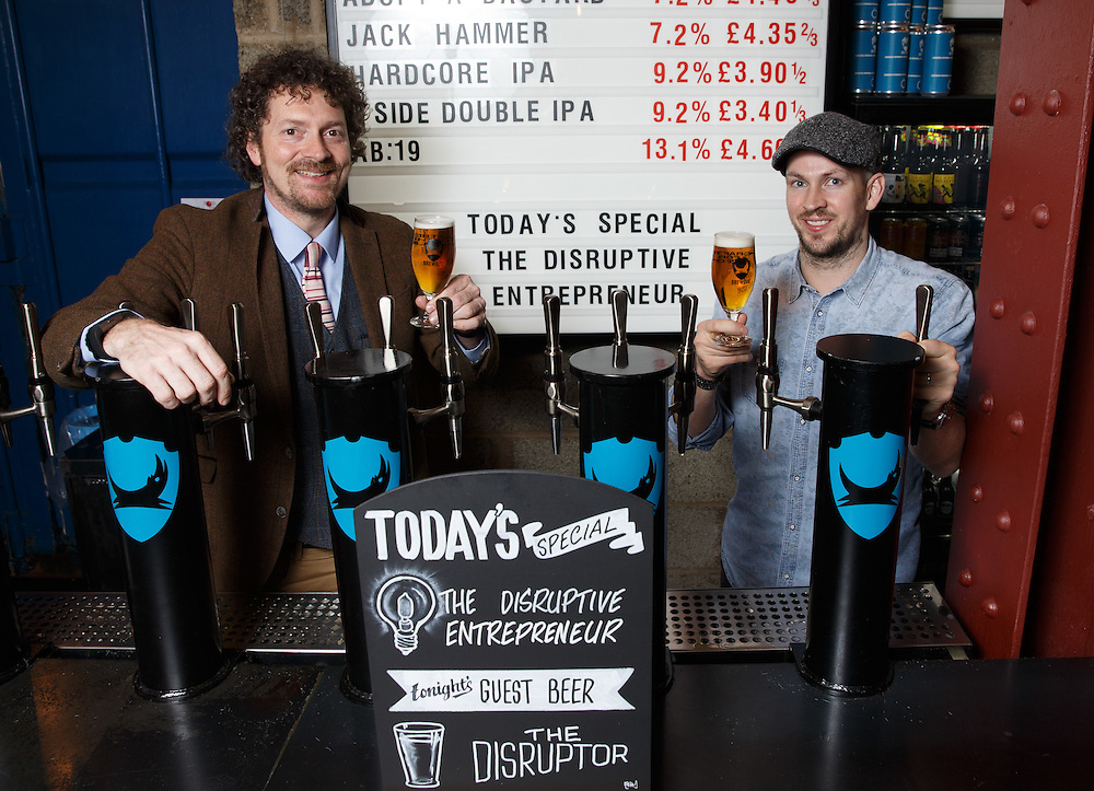 FREE PICTURES :  Entrepreneurial Scotland drafts in brewer. L to R : Chris Van der Kuyl,  Chairman of Entrepreneurial Scotland and James Watt, Co-Founder of Brewdog. Picture Robert Perry 3rd March 2016<br /> <br /> Please credit photo to Robert Perry<br /> <br /> Image is free to use in connection with the promotion of the above company or organisation. 'Permissions for ALL other uses need to be sought and payment make be required.<br /> <br /> <br /> Note to Editors:  This image is free to be used editorially in the promotion of the above company or organisation.  Without prejudice ALL other licences without prior consent will be deemed a breach of copyright under the 1988. Copyright Design and Patents Act  and will be subject to payment or legal action, where appropriate.<br /> www.robertperry.co.uk<br /> NB -This image is not to be distributed without the prior consent of the copyright holder.<br /> in using this image you agree to abide by terms and conditions as stated in this caption.<br /> All monies payable to Robert Perry<br /> <br /> (PLEASE DO NOT REMOVE THIS CAPTION)<br /> This image is intended for Editorial use (e.g. news). Any commercial or promotional use requires additional clearance. <br /> Copyright 2016 All rights protected.<br /> first use only<br /> contact details<br /> Robert Perry     <br /> 07702 631 477<br /> robertperryphotos@gmail.com<br />        <br /> Robert Perry reserves the right to pursue unauthorised use of this image . If you violate my intellectual property you may be liable for  damages, loss of income, and profits you derive from the use of this image.