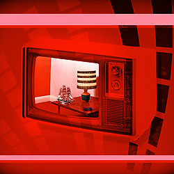 Retro Futuristic Mid Century Television advertising shot with side table, lamp and ship on futuristic red background