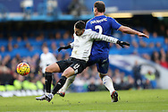 Branislav Ivanovic of Chelsea challenging Kevin Mirallas of Everton. Barclays Premier league match, Chelsea v Everton at Stamford Bridge in London on Saturday 16th January 2016.<br /> pic by John Patrick Fletcher, Andrew Orchard sports photography.
