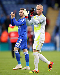 Leicester City goalkeeper Kasper Schmeichel applauds the fans at the end of the Premier League match at the King Power Stadium, Leicester.