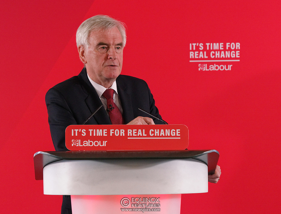 London, United Kingdom - 9 December 2019<br /> John McDonnell gives an economics speech in the run up to the general election 2019, on behalf of the Labour Party at Coin Street Community Builders, London, England, UK.<br /> (photo by: EQUINOXFEATURES.COM)<br /> Picture Data:<br /> Photographer: Equinox Features<br /> Copyright: ©2019 Equinox Licensing Ltd. +443700 780000<br /> Contact: Equinox Features<br /> Date Taken: 20191209<br /> Time Taken: 11430422<br /> www.newspics.com