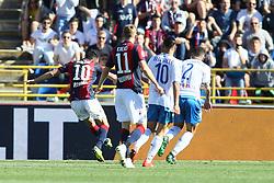"""Foto LaPresse/Filippo Rubin<br /> 27/04/2019 Bologna (Italia)<br /> Sport Calcio<br /> Bologna - Empoli - Campionato di calcio Serie A 2018/2019 - Stadio """"Renato Dall'Ara""""<br /> Nella foto: GOAL BOLOGNA NICOLA SANSONE (BOLOGNA FC)<br /> <br /> Photo LaPresse/Filippo Rubin<br /> April 27, 2019 Bologna (Italy)<br /> Sport Soccer<br /> Bologna vs Empoli - Italian Football Championship League A 2017/2018 - """"Renato Dall'Ara"""" Stadium <br /> In the pic: GOAL BOLOGNA NICOLA SANSONE (BOLOGNA FC)"""