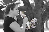 Dogwood tree flowering woman