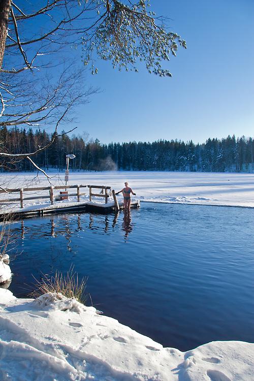 Ljubov Antoni enjoys ice swimming in Finland.