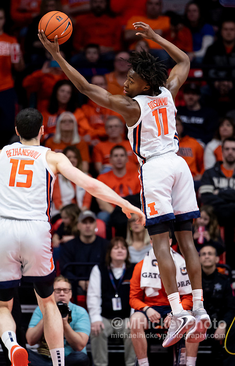 CHAMPAIGN, IL - FEBRUARY 24: Ayo Dosunmu #11 of the Illinois Fighting Illini reaches for the ball during the game against the Nebraska Cornhuskers at State Farm Center on February 24, 2020 in Champaign, Illinois. (Photo by Michael Hickey/Getty Images) *** Local Caption *** Ayo Dosunmu