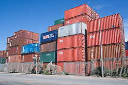 Stack of Shipping container at Seaforth Container depot terminal Liverpool Docks; England,