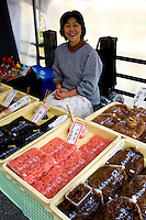 Takayama Asaichi Morning Market - Starting in the Edo period markets of rice and flowers developed when farmers' wives began to bring produce into town to sell.  These markets came to be known as 'Morning Markets.' There are two of them in Takayama, the Jinyamae Morning Market and Miyagawa Morning Market.