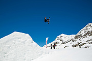 British freestyle snowboarder Billy Morgan during spring training on 05th May 2017 in Corvatsch, Switzerland. Piz Corvatsch is a mountain in the Bernina Range of the Alps, overlooking Lake Sils and Lake Silvaplana in the Engadin region of the canton of Graubünden.
