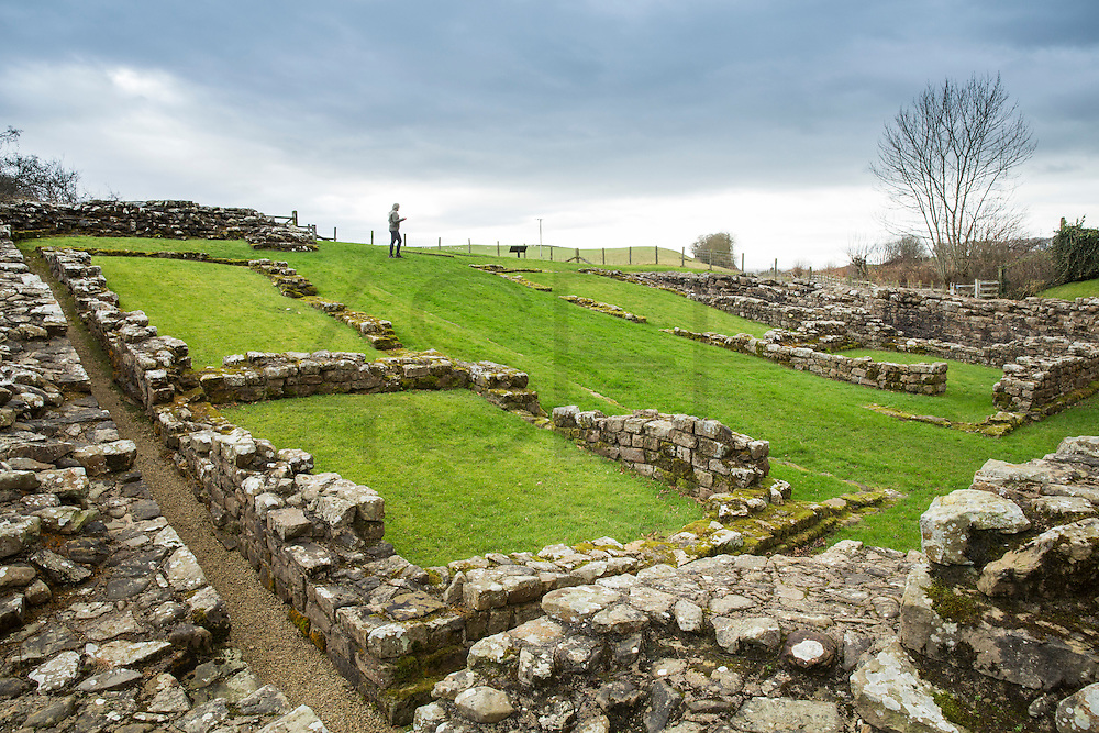 view of the Hadrian's wall near Brampton. Ruins of Poltross Burn Milecastle