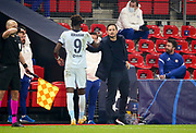 Coach of Chelsea Frank Lampard, Tammy Abraham of Chelsea (left) during the UEFA Champions League, Group E football match between Stade Rennais and Chelsea on November 24, 2020 at Roazhon Park in Rennes, France - Photo Jean Catuffe / ProSportsImages / DPPI
