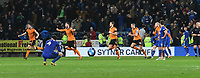 Football - 2017 / 2018 Sky Bet Championship - Cardiff City vs. Wolverhampton Wanderers<br /> <br /> Wolves celebrate after ,David Junior Hoilett (Cardiff City) hits the bar with a right footed shot from the penalty spot in the 96th ,minute, Cardiff's 2nd penalty within minutes at the end of the game at Cardiff City Stadium.<br /> <br /> COLORSPORT/WINSTON BYNORTH