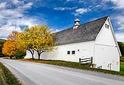 Charming white barn, Arlington, Vermont, USA.