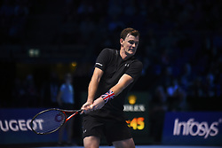 November 15, 2017 - London, England, United Kingdom - Jamie Murray of Great Britain partner of Bruno Soares of Brazil in action during the doubles match against Ivan Dodig of Croatia and Marcel Granollers of Spain on day four of the 2017 Nitto ATP World Tour Finals at O2 Arena, London on November 15, 2017. (Credit Image: © Alberto Pezzali/NurPhoto via ZUMA Press)