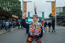 © Licensed to London News Pictures. 18/06/2021. LONDON, UK.  A Scotland football fan arrives for the Euro 2020 Group D match between England and Scotland match at Wembley Stadium. The tournament was postponed from 2020 due to the COVID-19 pandemic in Europe and rescheduled for 11 June to 11 July 2021 with matches to be played in 11 cities. Wembley Stadium will host certain group matches, as well as the semi-finals and final itself.  Photo credit: Stephen Chung/LNP