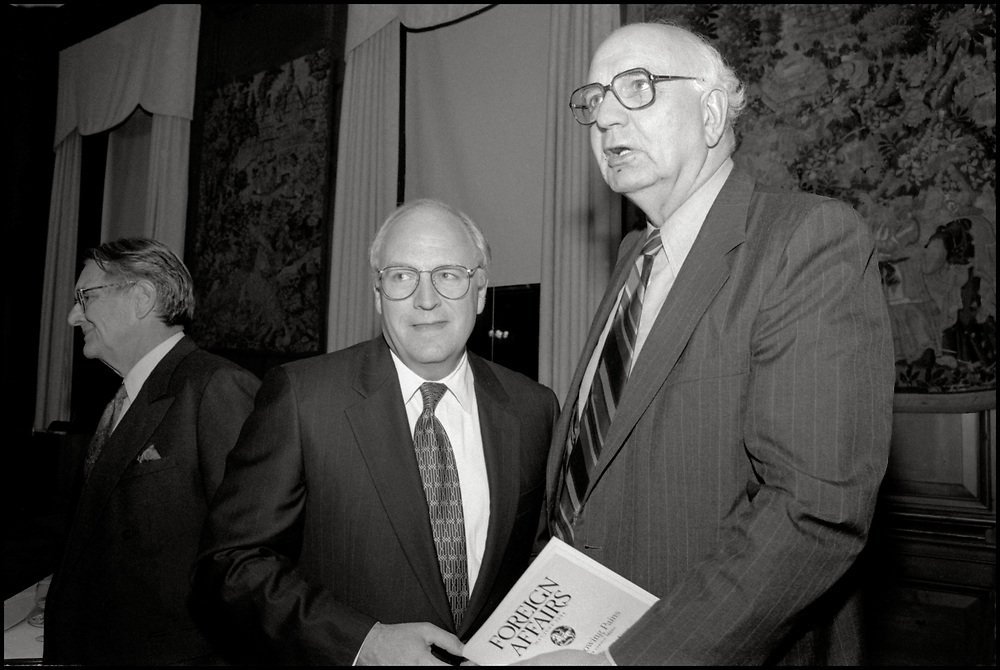 Dick Cheney and Paul A. Volcker attend a meeting in New York City on April 28, 1994.