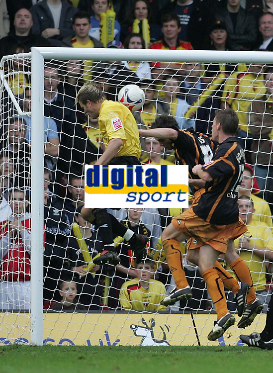 Photo: Lee Earle.<br /> Watford v Wolverhampton Wanderers. Coca Cola Championship. 29/10/2005. Watford's Jay DeMerit heads home their first goal.