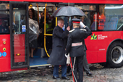 © Licensed to London News Pictures. 04/03/2020. London, UK. The Prince of Wales arrives in a new electric double decker bus at the London Transport Museum to take part in celebrations to mark 20 years of Transport for London. Photo credit: Ray Tang/LNP