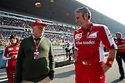 April 10-12, 2015: Chinese Grand Prix - Niki Lauda speaks with Maurizio Arrivabene, team principal of Scuderia Ferrari