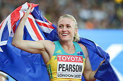 London, August 12 2017 . Sally Pearson, Australia, winner of the women's 100m hurdles final on day nine of the IAAF London 2017 world Championships at the London Stadium. © Paul Davey.
